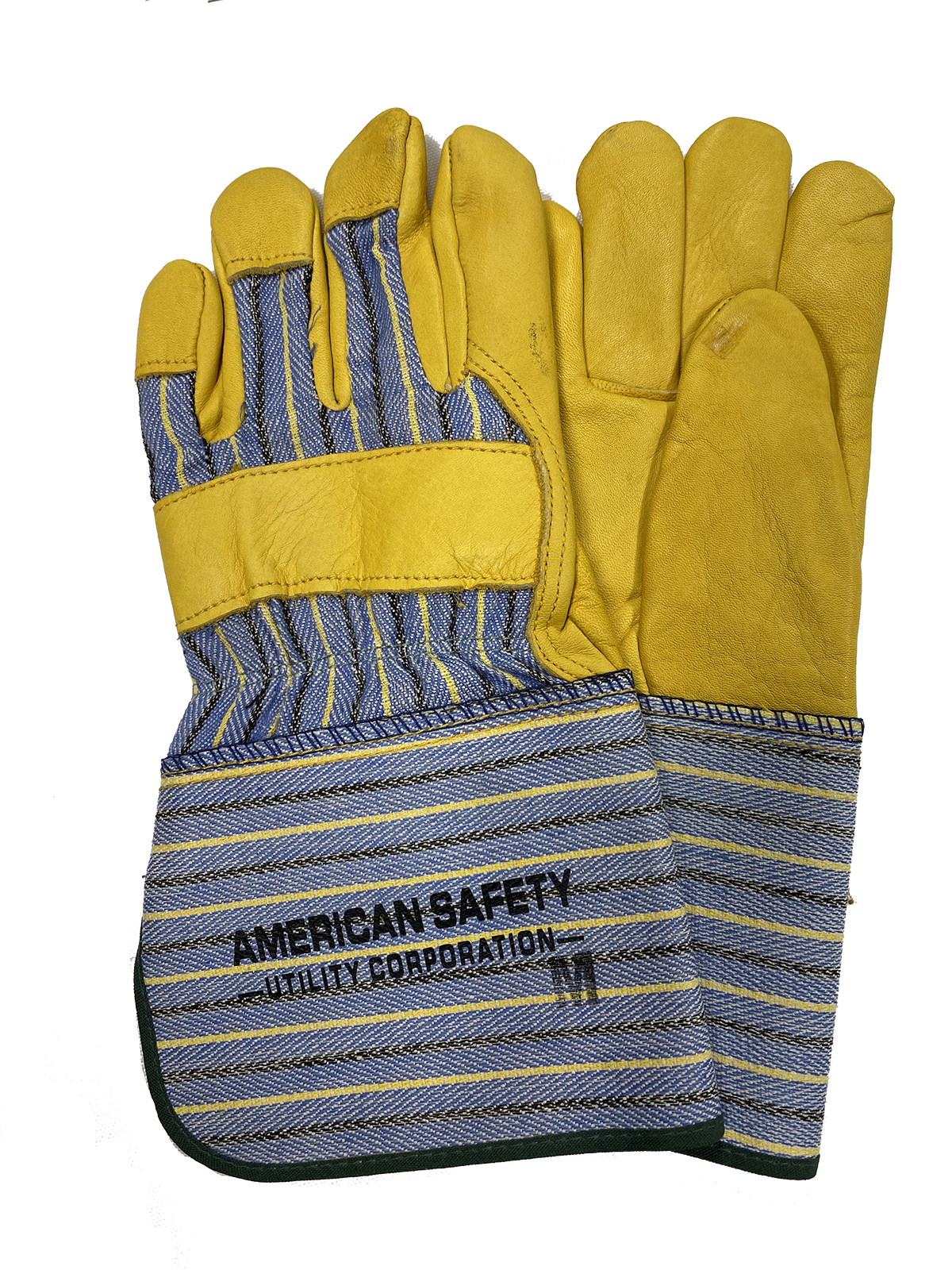 "Top Grain Leather Palm Gloves 2"" cuff, Large. American Safety Logo."