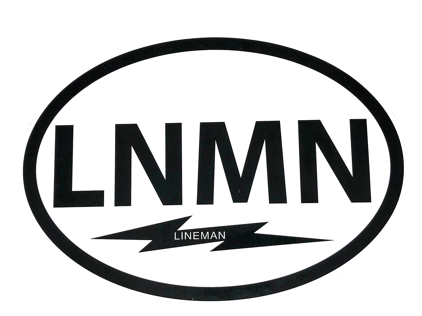 BUMPER STICKER LNMN OVAL BLACK ON WHITE VINYL 5-1/8