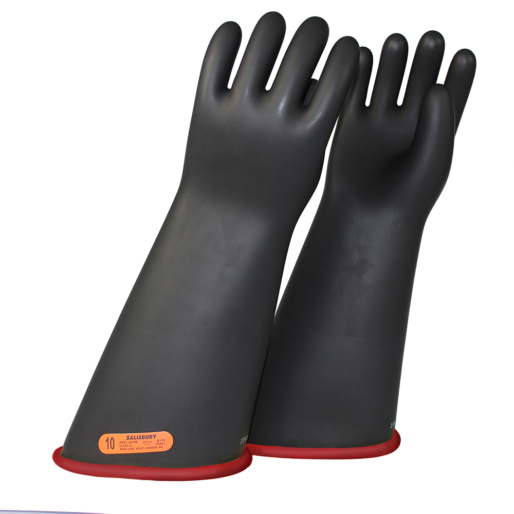Salisbury Electriflex Gloves 2 Color Black Over Red Class 2 (17kV) 18' Contour Cuff, 8