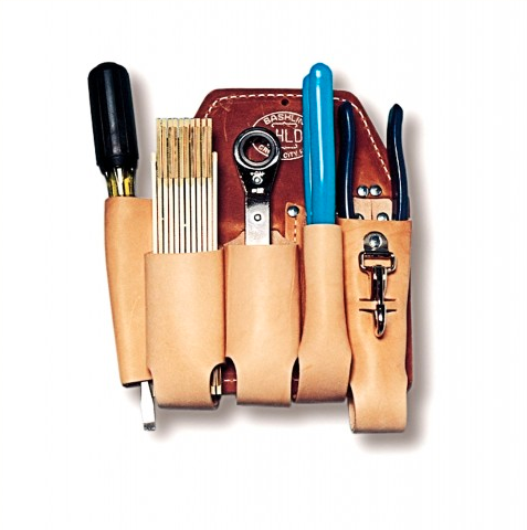 Bashlin Linemans Leather Left Handed Tool Holder for pliers, rule, screwdriver, Channel, ratchet driver, knife or wrench