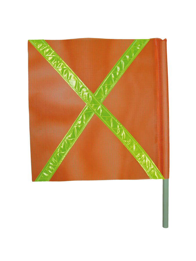 "Orange Mesh Flag with 2 inch Fl yellow reflective PVC tape place in ""X"" pattern on one side."