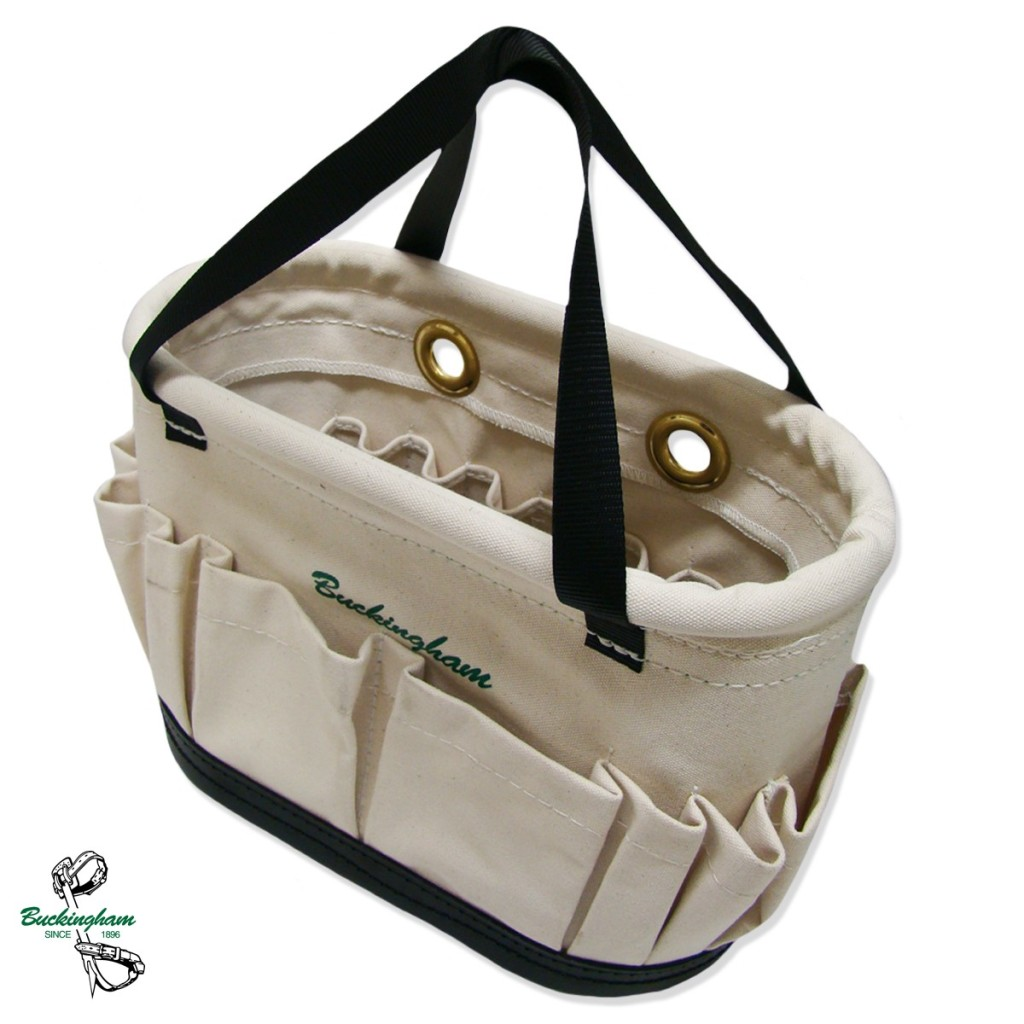Buckingham Oval Tool Bucket With Pockets Inside And Outside