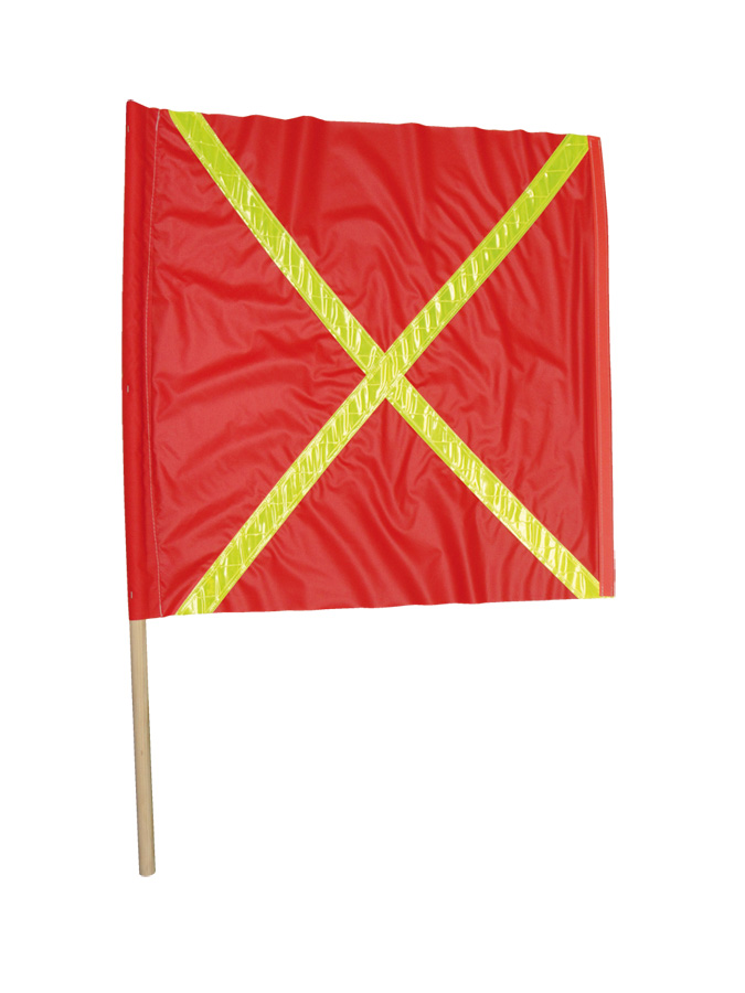 "Red Flag- 24"" x 24"" with 2"" yellow reflective PVC stripe in ""x"" pattern on both sides with 36"" dowel and weighted 24"" dowel on o"