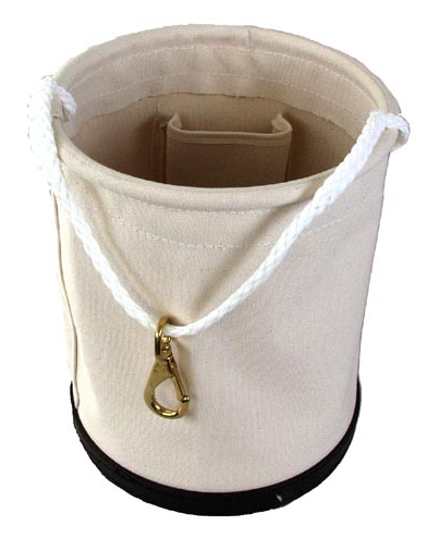 Tool Bucket Canvas, w/Rope and Snap 1 Inside Pocket 12
