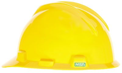 MSA V-Gard Cap (slotted), Yellow, Ratchet Suspension