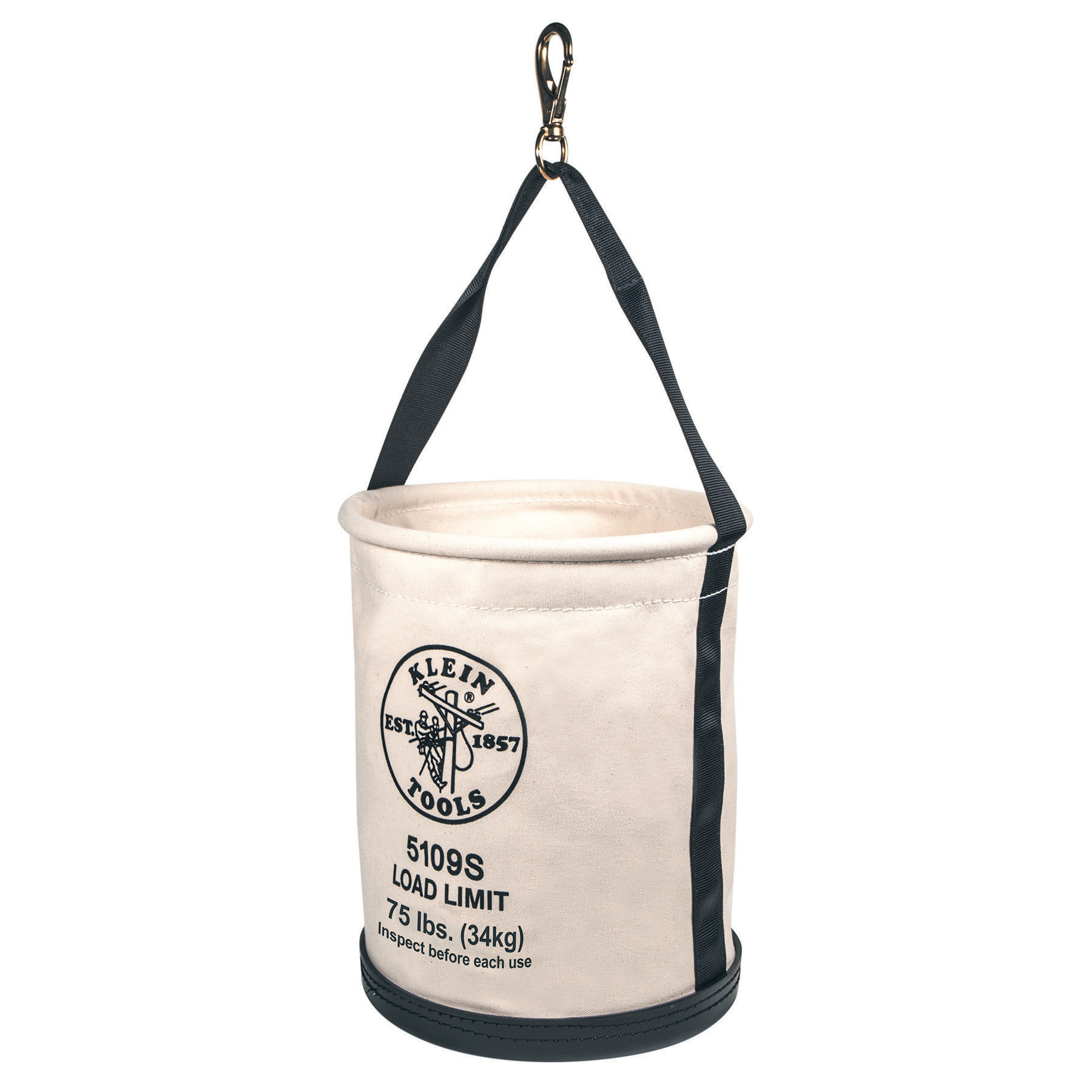 "Klein, Bucket, #6 Canvas, Wide-Opening, Straight-Wall, Hook, 12""D x 15""H"