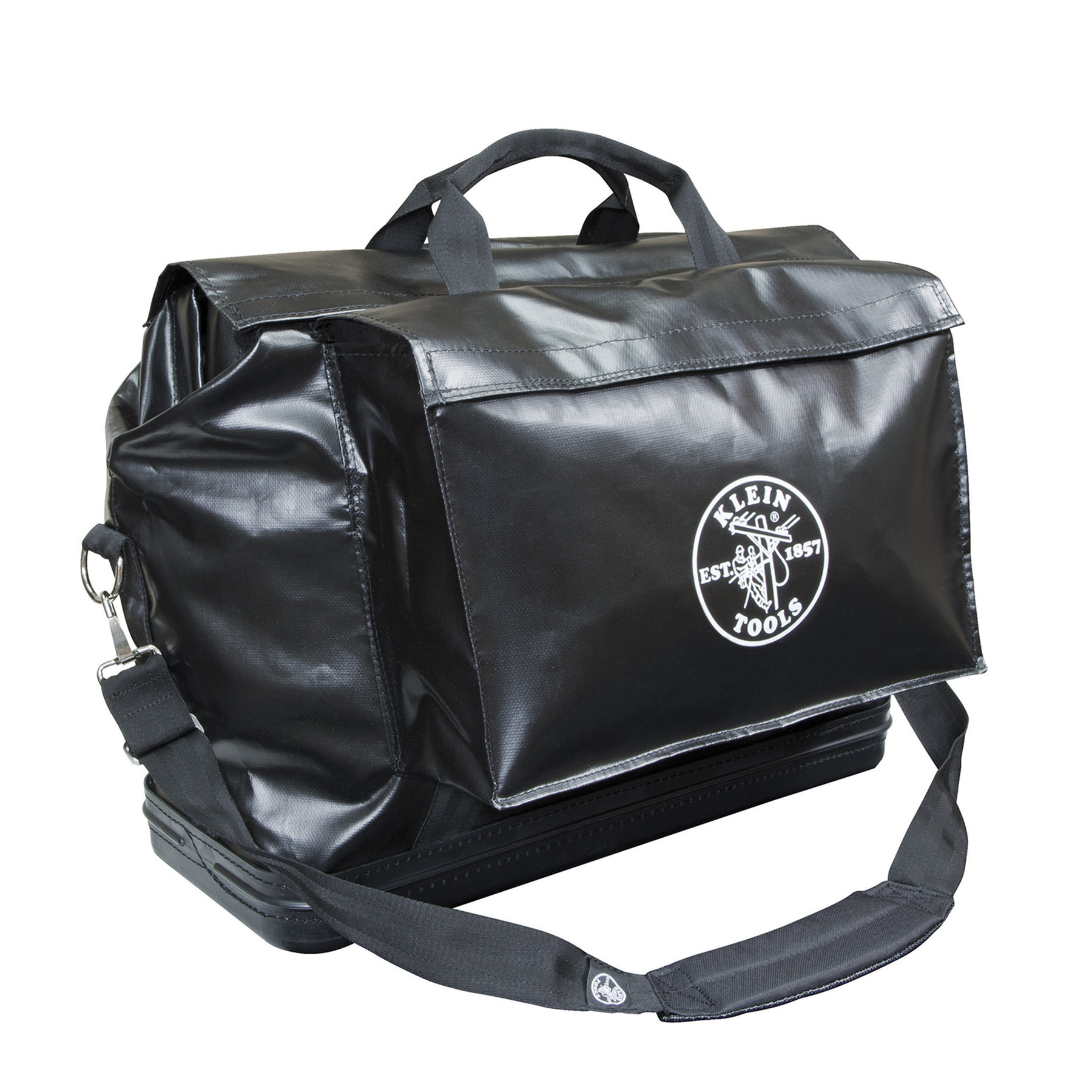 "Klein Vinyl Equipment Bags 20"" H x 24"" L x 10"" W. 2 Outside Pockets, rain flap, should strap."