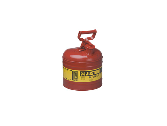 Type I Steel Safety Can For Flammables, 2 Gallon (7.5L), S/S Flame Arrester Self-Close Lid