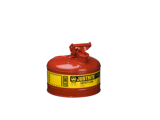 Type I, 2 1/2 -Gallon Red Safety Gas Can. No Funnel. 11.75