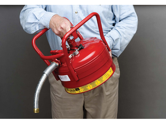 JustRite D.O.T. Type II, 2.5 Gallon Steel Red Safety Gas Can w/Hose 1