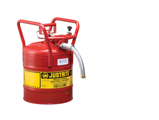 JustRite D.O.T. Type II, 5 Gallon Steel Red Safety Gas Can w/Hose 1