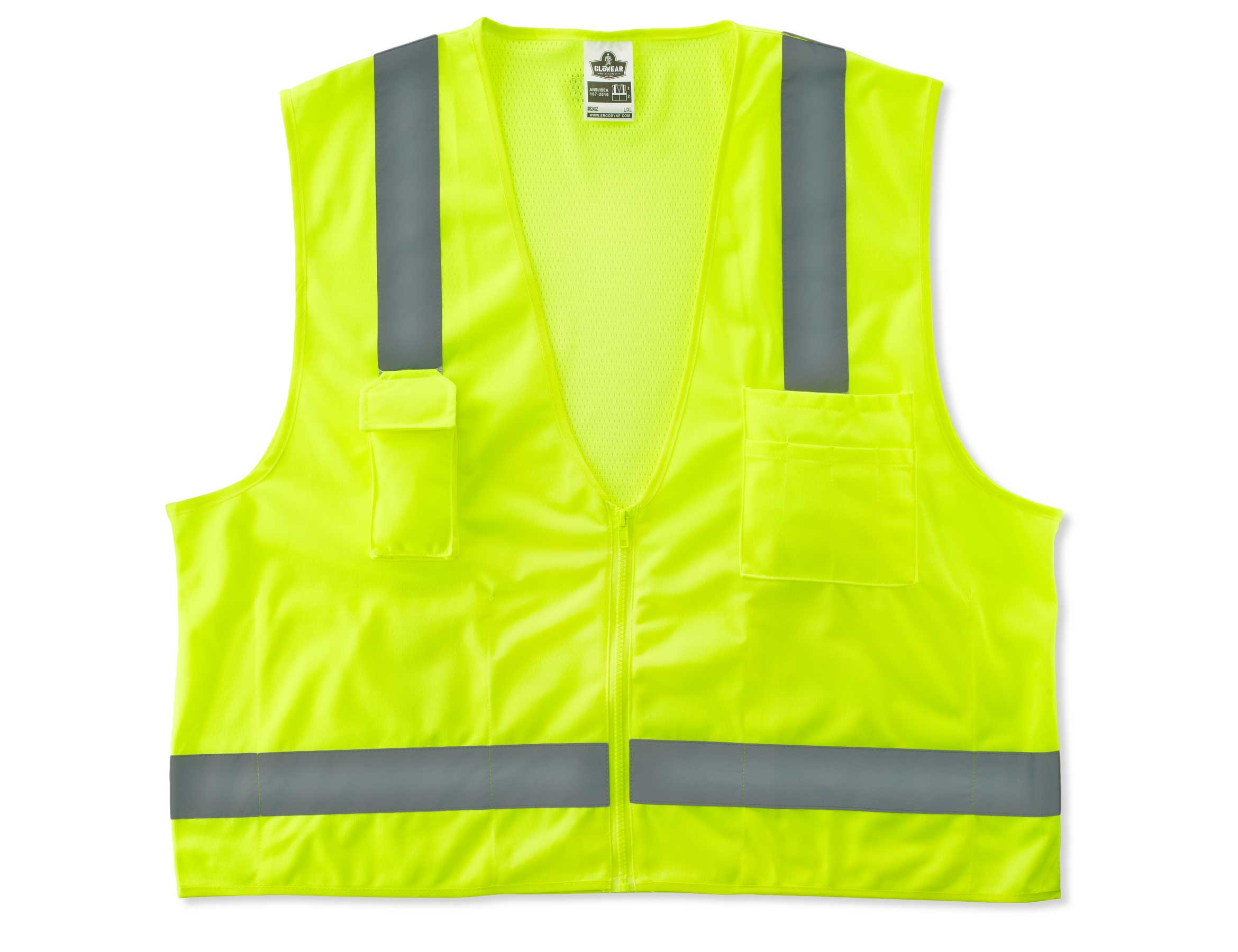Ergodyne Class 2 ANSI-Compliant Economy Surveyor's Vest - Solid front, mesh back, Zipper closure and pockets - 2XL/3XL, Lime