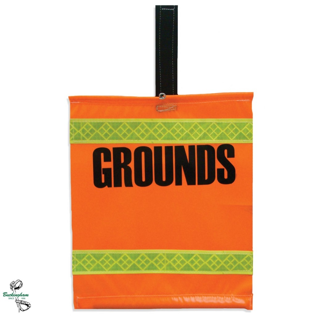 "BUCKINGHAM ""GROUNDS"" FLAG HI-VIS ORANGE 17 1/2"" H X 16 1/2"" W"