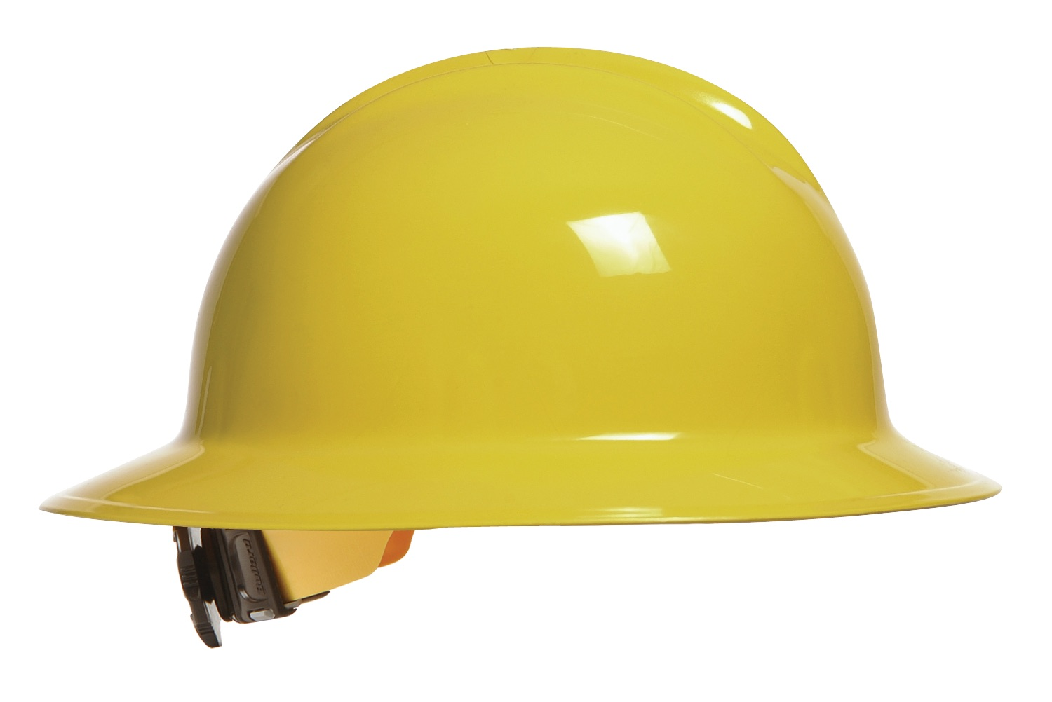 Bullard Full-Brim Hard Hat Yellow Hat with ratchet suspension (33YLR) •6-point Flex-Gear® ratchet suspension