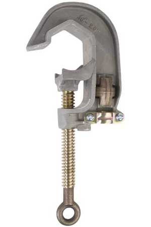 "CHANCE GROUND CLAMP, ALUMINUM 2"" w/ SMOOTH  JAW AND PRESSURE TERMINAL."