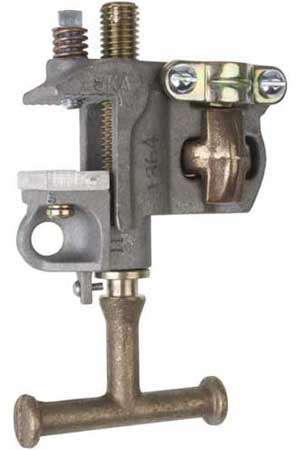 Chance Grounding Clamp, flat face with bronze T-handle