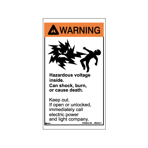 Mr. Ouch Transformer Safety Labels English, WARNING pk/10 VINYL