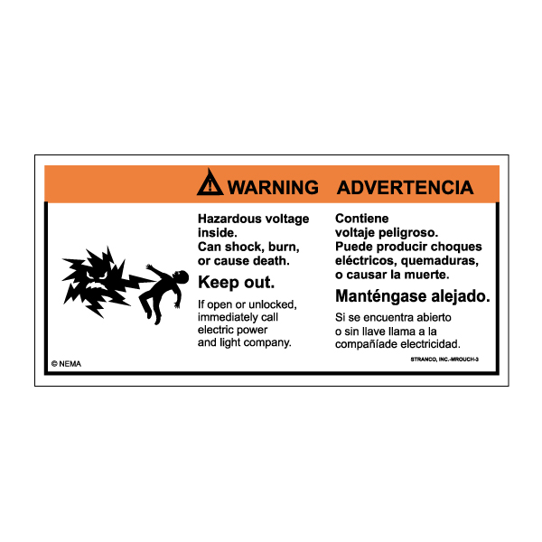 Mr. Ouch Transformer Safety Labels Bilingual, WARNING pk/10 vinyl