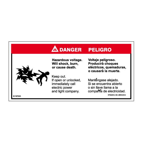 Mr. Ouch Transformer Safety Labels Bilingual, DANGER   PK/10 VINYL