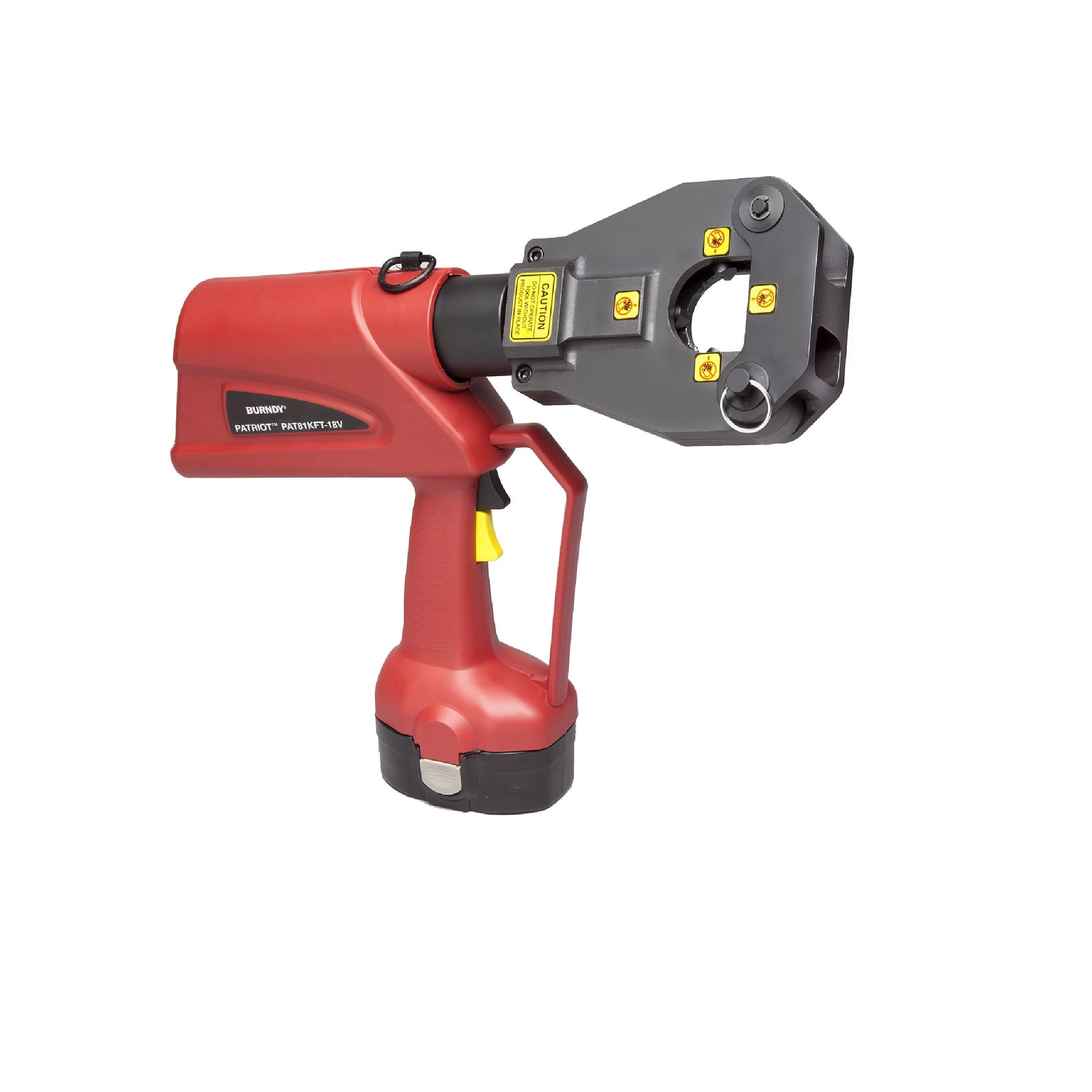 Burndy Battery Actuated Crimping Tool, Hydraulic Self Contained, 6 Ton, #8 - 1000 Kcmil Cu, #8 - 750 Kcmil Al, 18V Ni-MH