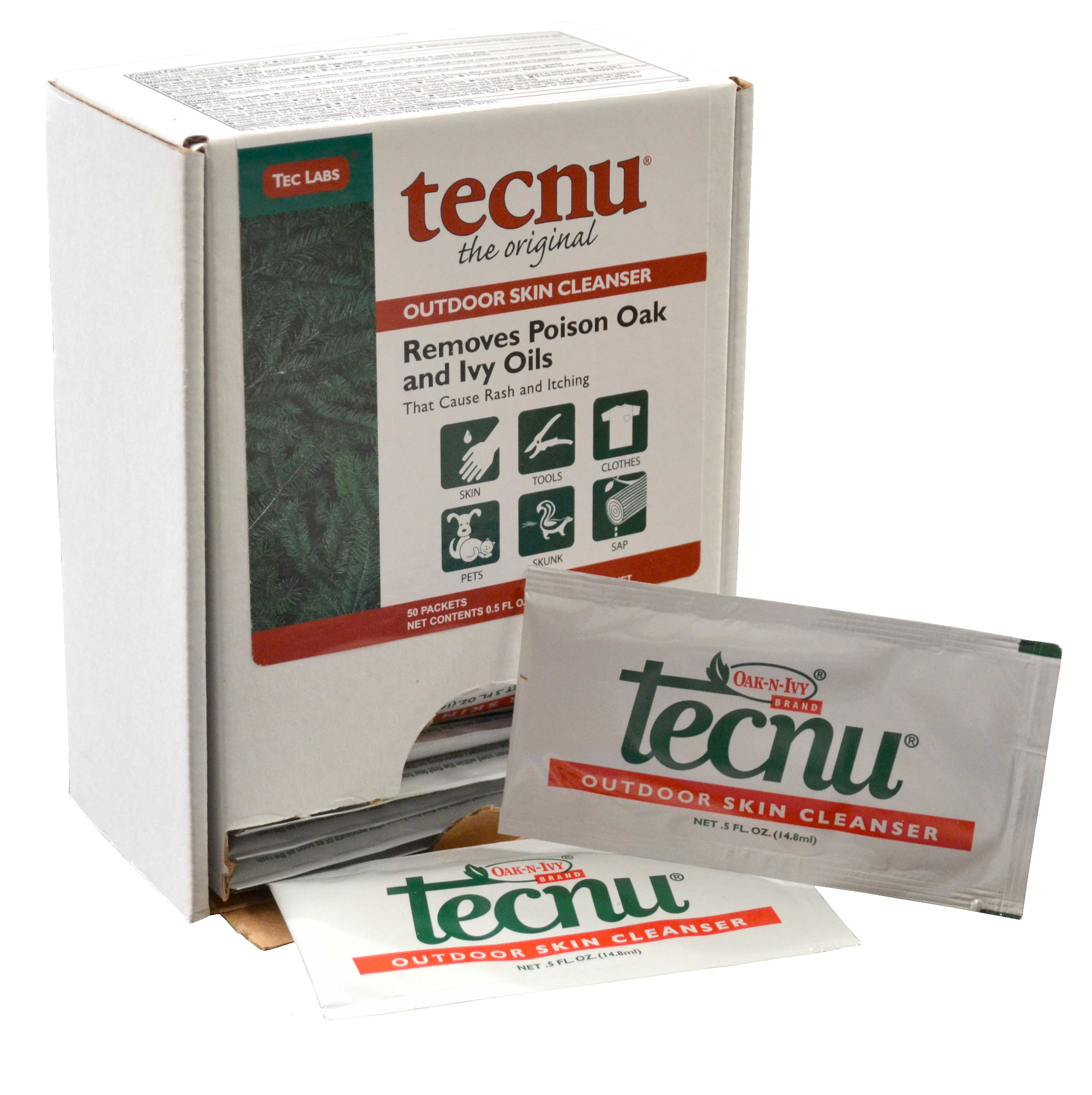 Tecnu Oak-N-Ivy Brand Outdoor Skin Cleanser Box with 50 Packets