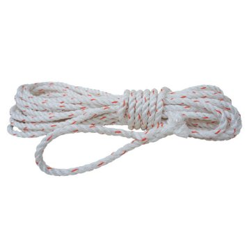 "Poly Plus Premium 3-strand twisted combination rope.  3/4"" x 600'. White w/ Red Tracer. Sold by Roll."