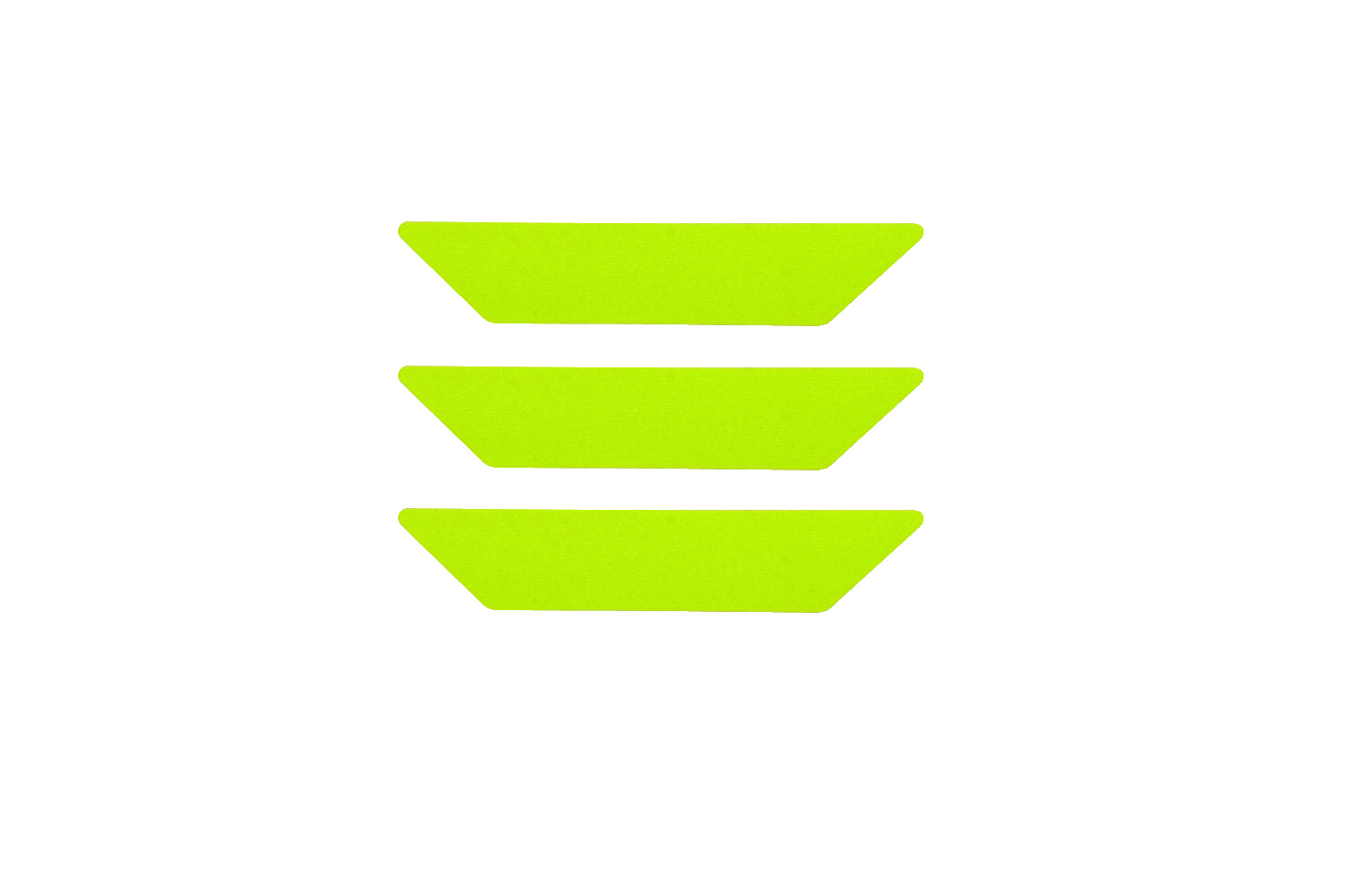"Bullard RETRO-REFLECTIVE STRIPES, LIME-YELLOW SCOTCHLITE, ADHESIVE BACKED, 1"" X 4"", SET OF 3"