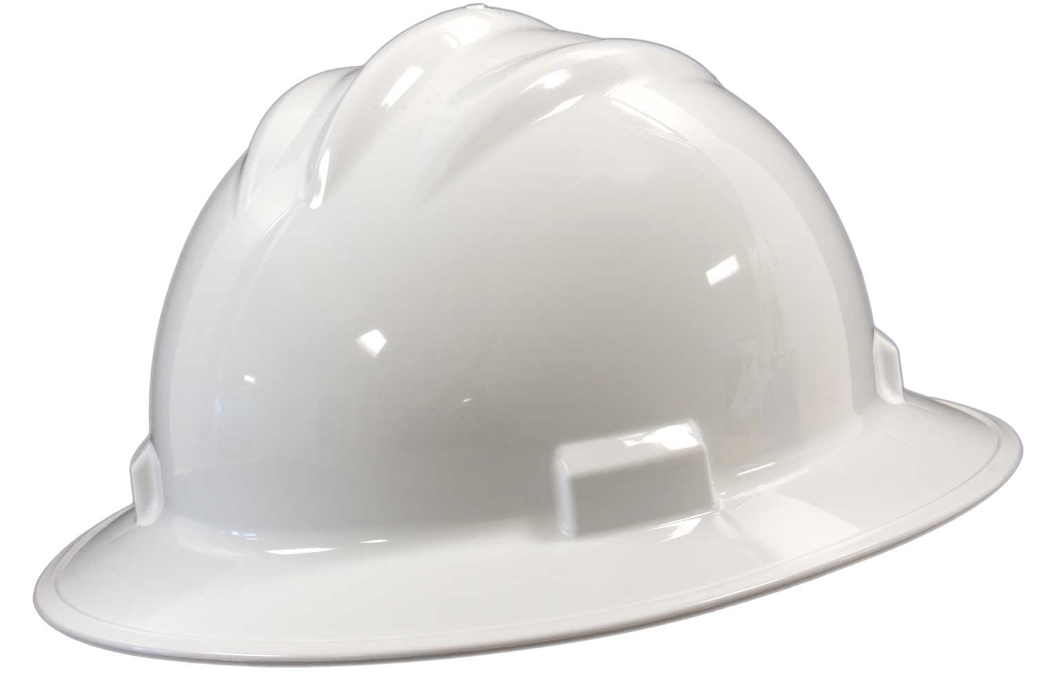 Bullard Full-Brim Hard Hat 4-point Suspension White, Flex-Gear Ratchet System   (71WHR)