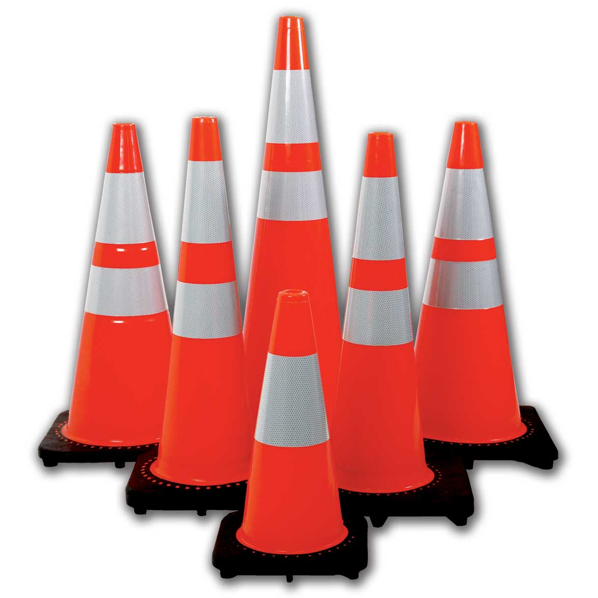 "The Revolution Series Cones TC28C10:  28"" Tall Wide Body Traffic Cone 6"" & 4""  Reflective Collar  10 LBS"