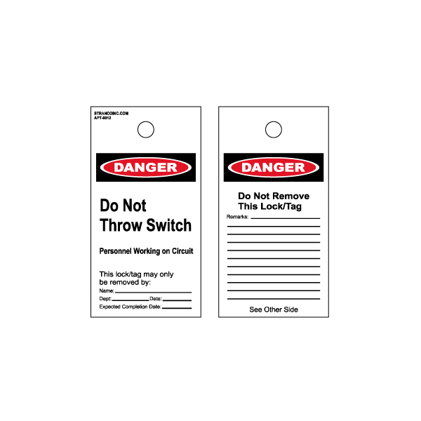 Lockout & Accident Prevention Tags Pack of 5, OSHA Do Not Throw Switch
