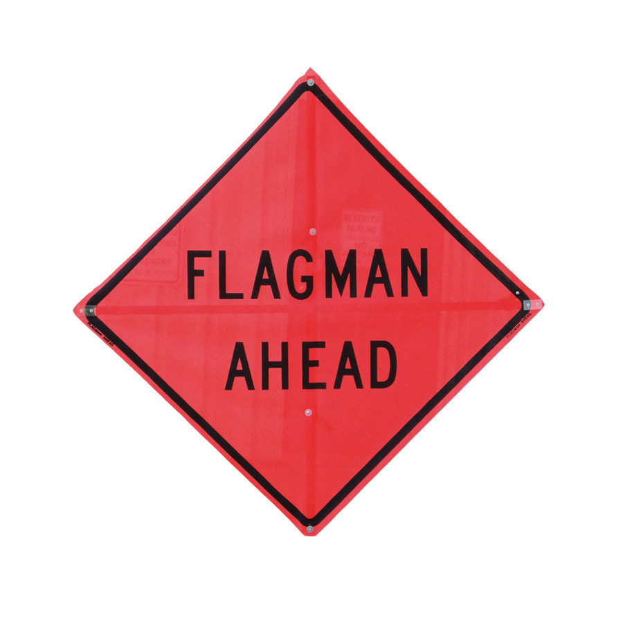 "48"" Roll-Up Sign - Reflective Material - with 5/8"" Vert Brace - Legend: FLAGGER AHEAD (RUR48-200)"