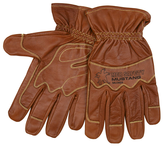 Mustang Utility Driver, Grain Goat Double Palm unlined, Kevlar Sewn, Wing Thumb, Gauntlet cuff