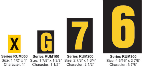 "Reflective Numbers 1- 1/2"" Character, Yellow On Black"