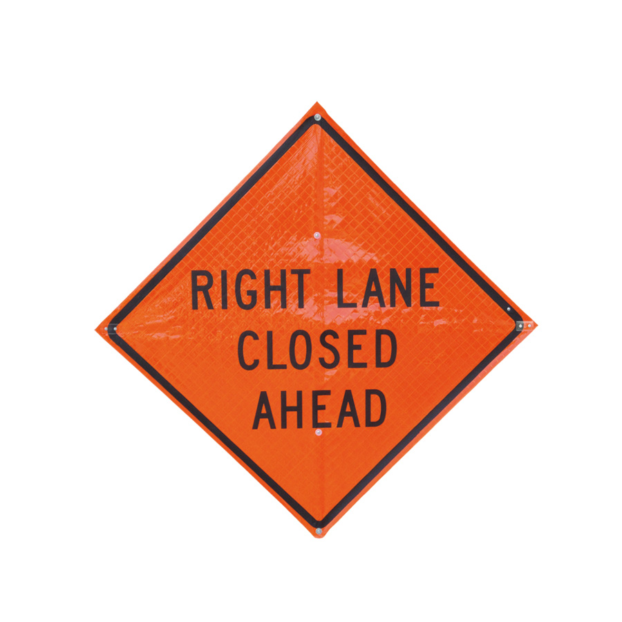 "48"" Roll-Up Sign - Reflective Material - with 5/8"" Vert Brace - Legend: RIGHT LANE CLOSED AHEAD (RUR48-200)"